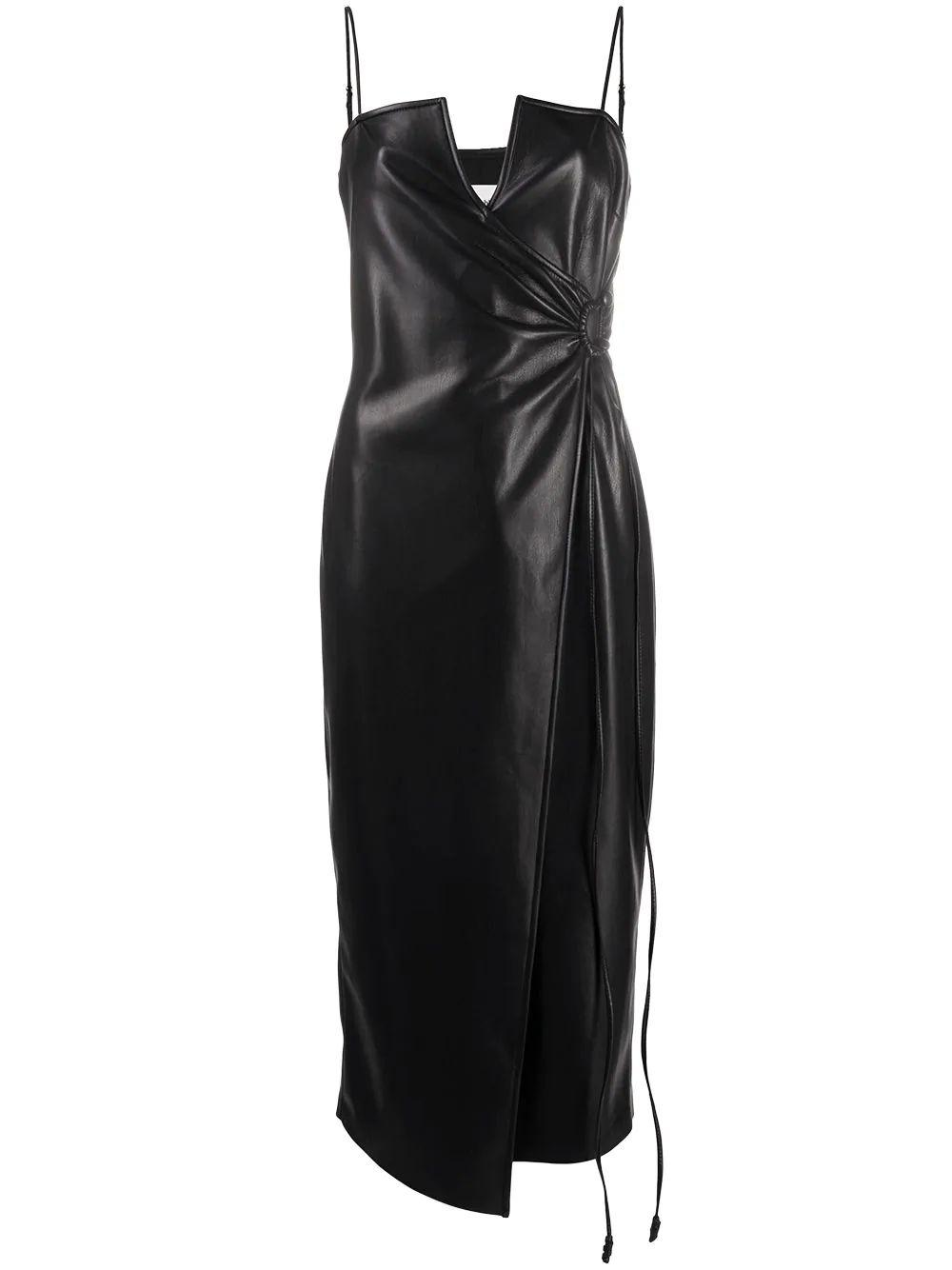Anubi Faux Leather Wrap Dress