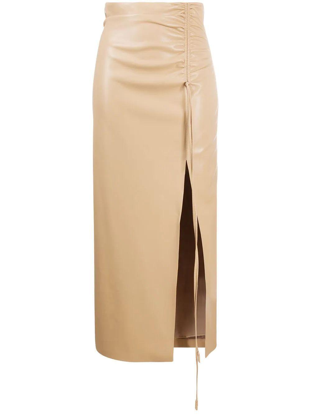 Malorie Vegan Leather Midi Skirt Item # NW21SSSK01273