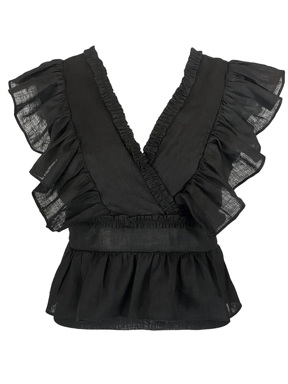 Marina Linen Blouse Item # CLB57-C