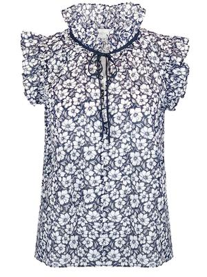 Nora Voile Posy Printed Top