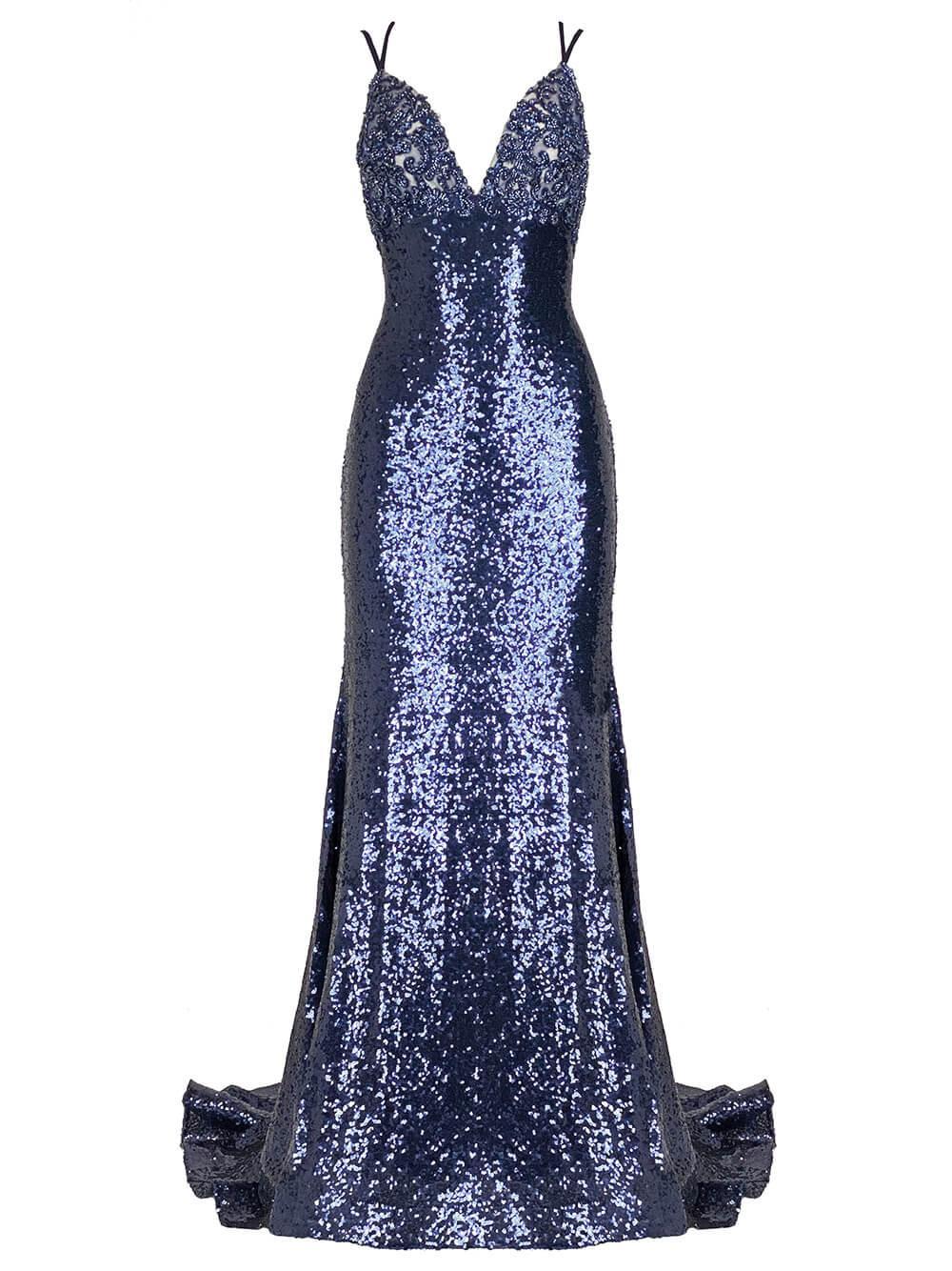 V-Neck Sequin Gown