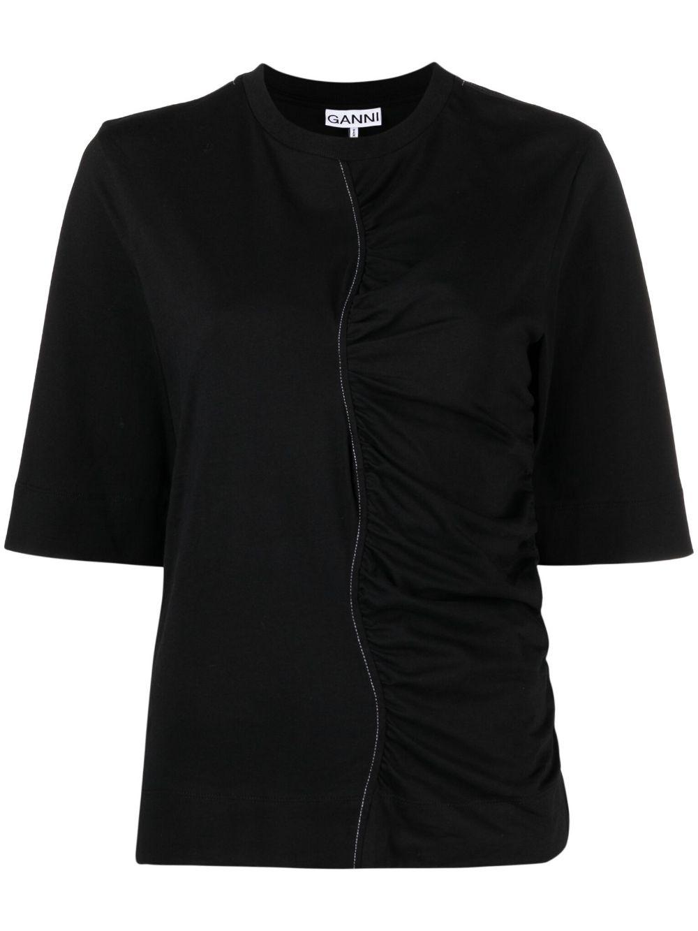 Cotton Jersey Half Ruched Tee Item # T2886