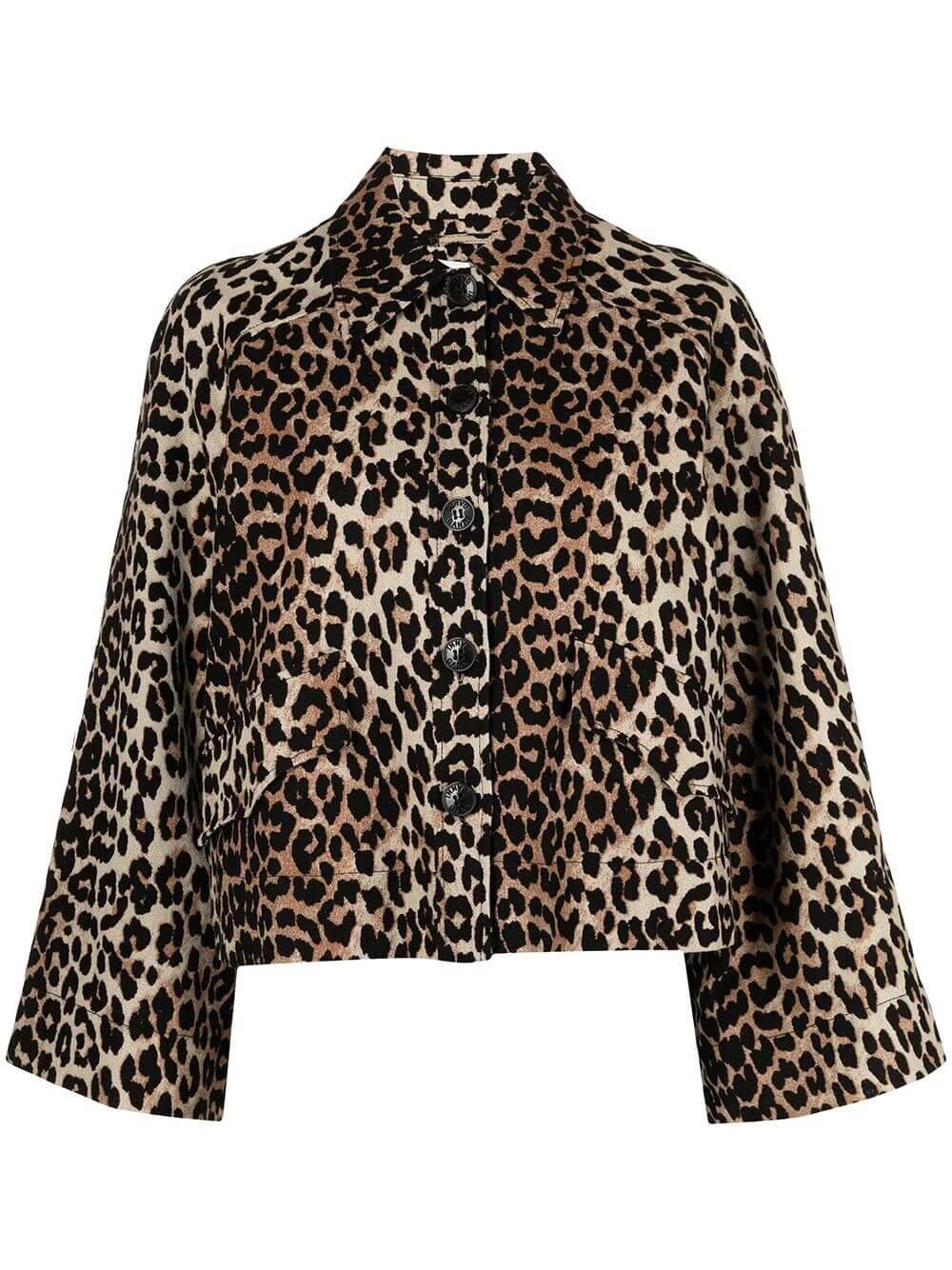 Linen Canvas Leopard Print Jacket