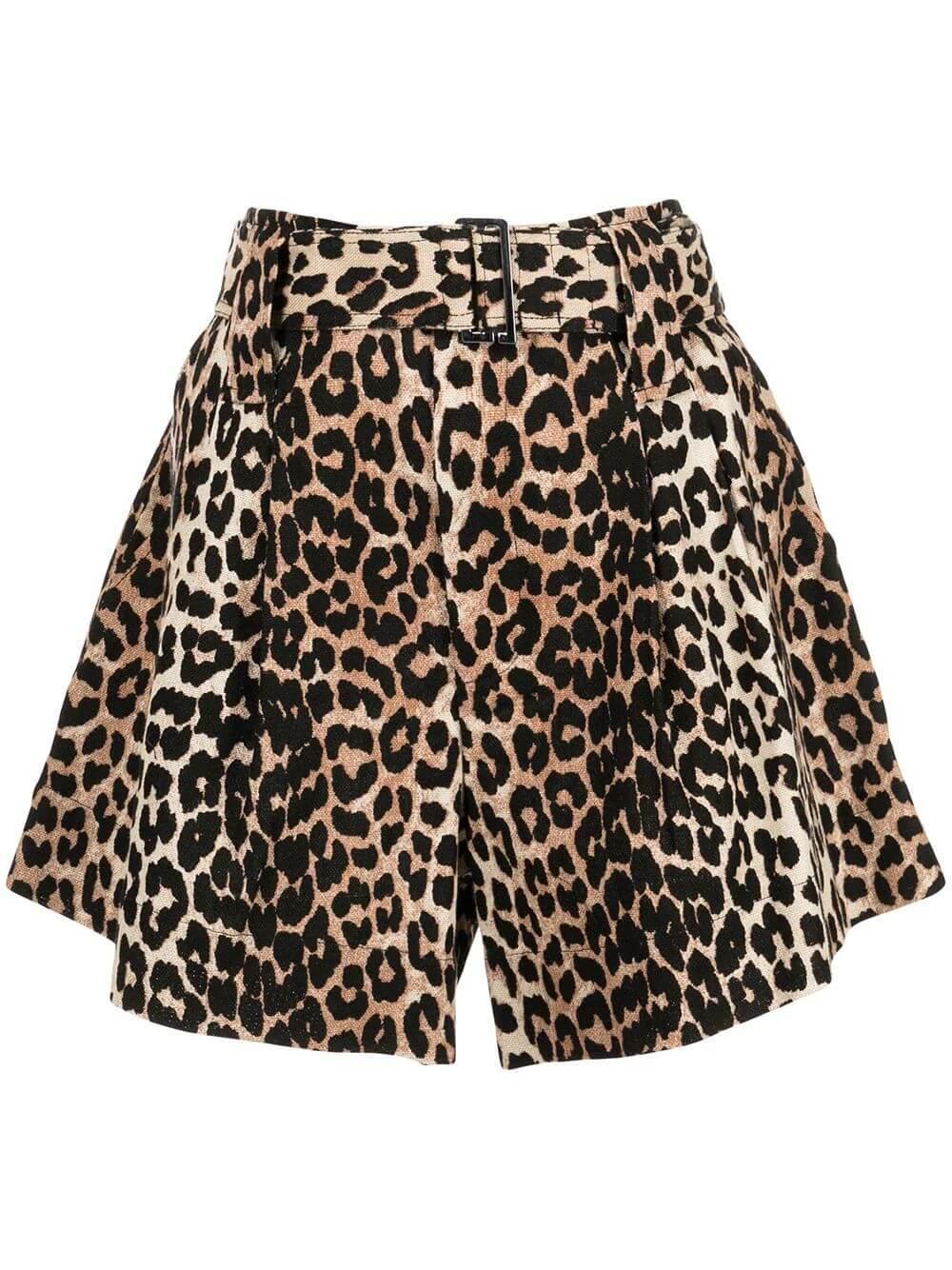Linen Canvas Leopard Print Shorts