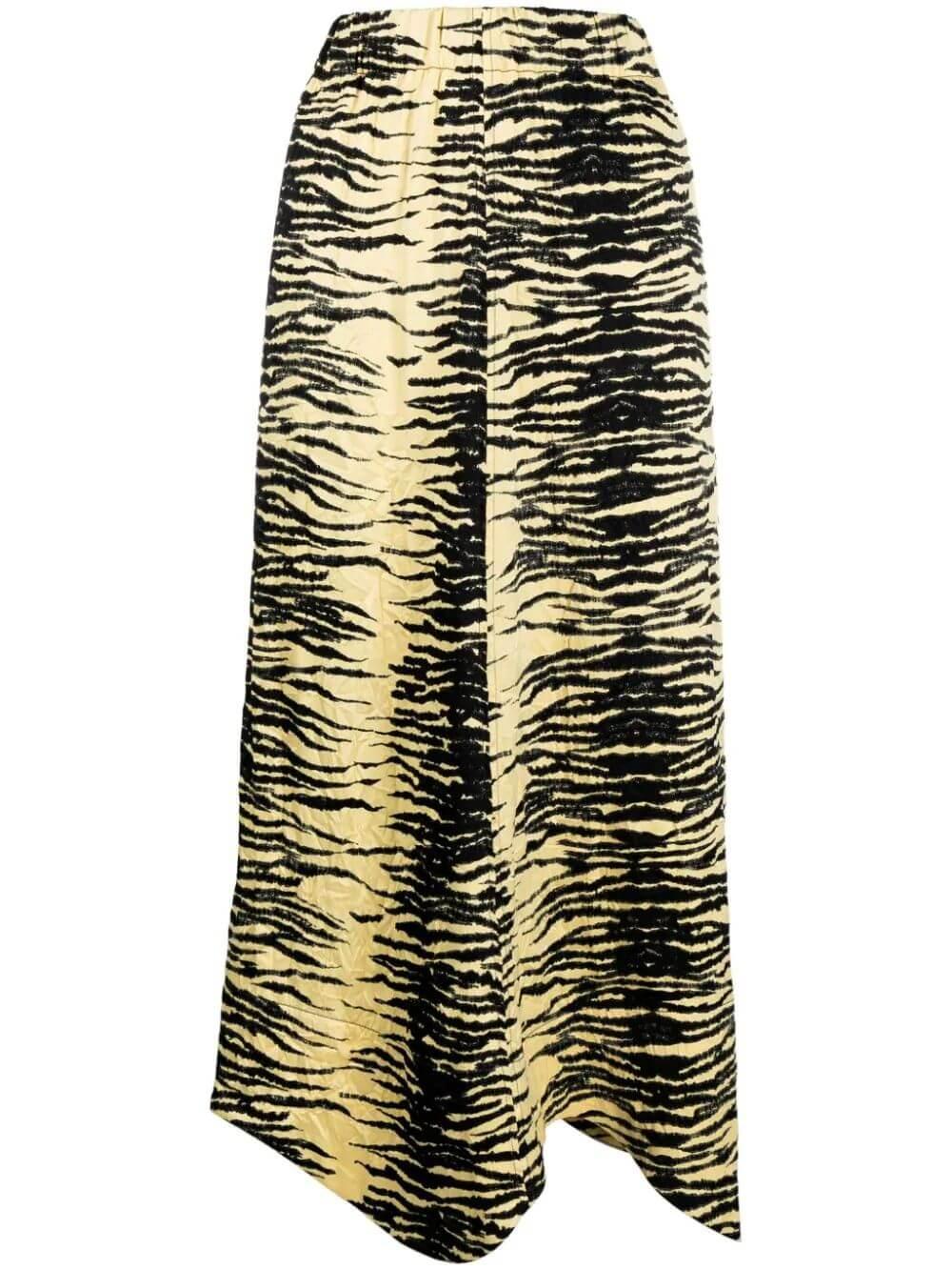 Crinkled Satin Printed Midi Skirt Item # F6111