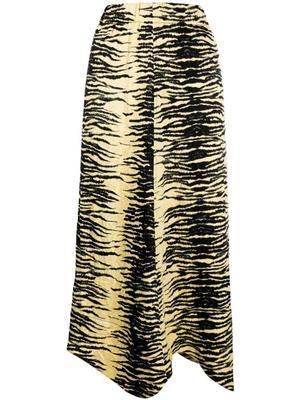Crinkled Satin Printed Midi Skirt