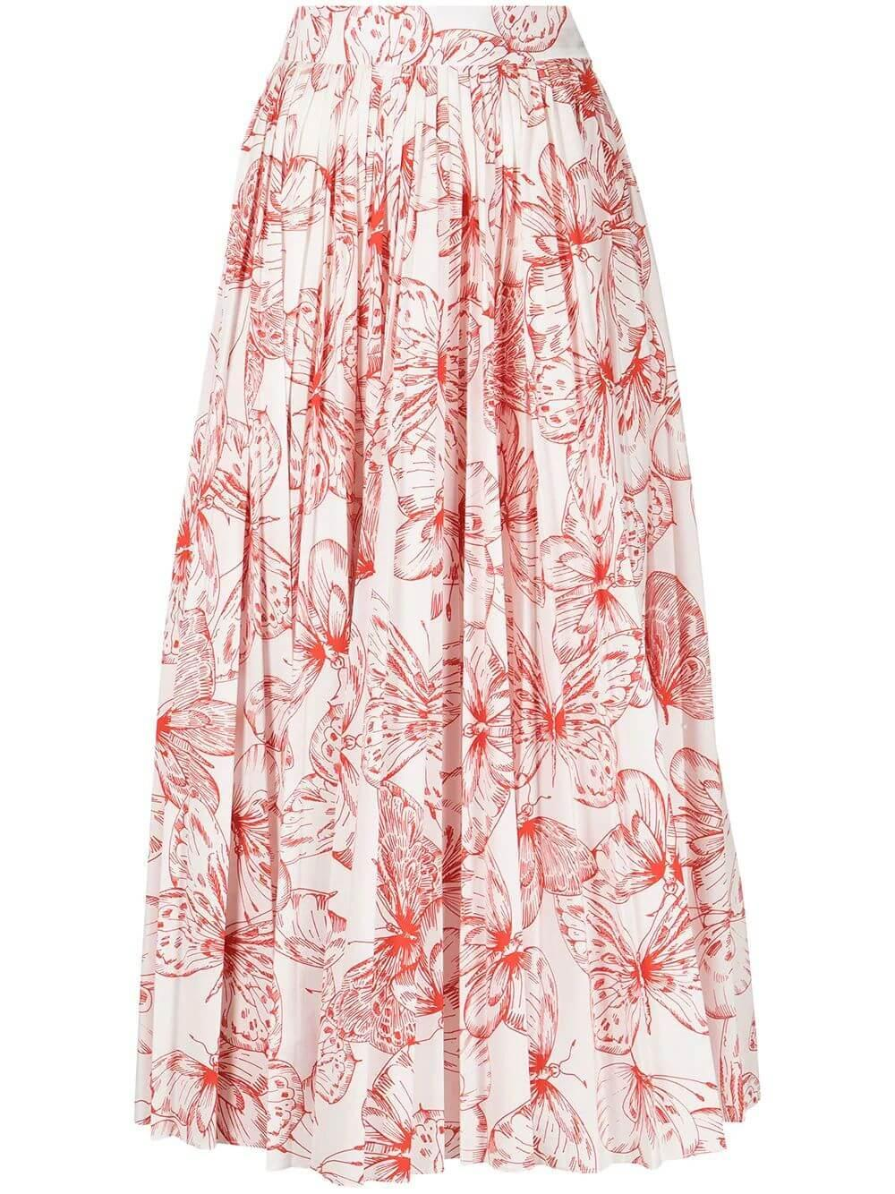 Butterfly Print Pleated Skirt