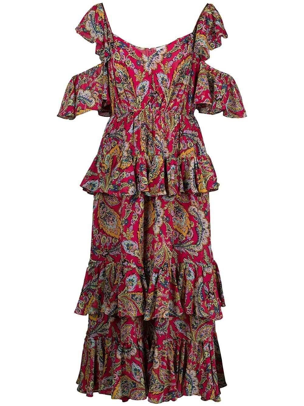 Collier Ruffle Midi Dress Item # ZD14014424Z
