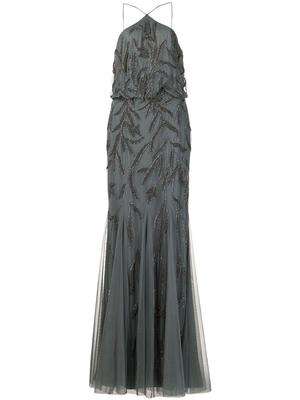 Embellished Halter Neck Blouson Gown