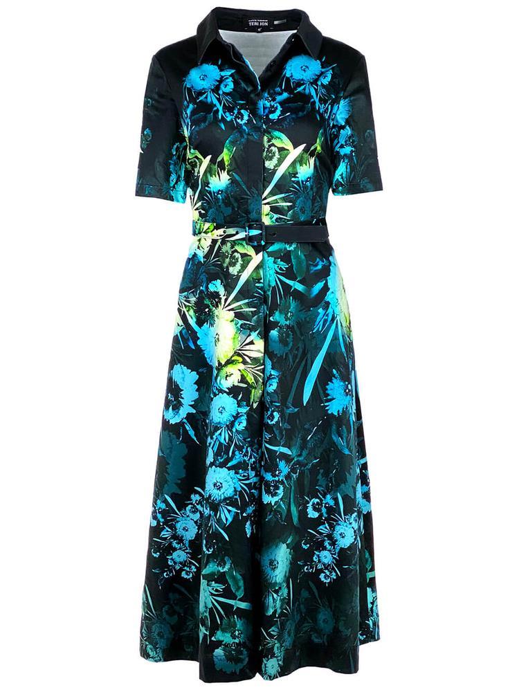 Belted Floral Shirt Dress Item # 21314