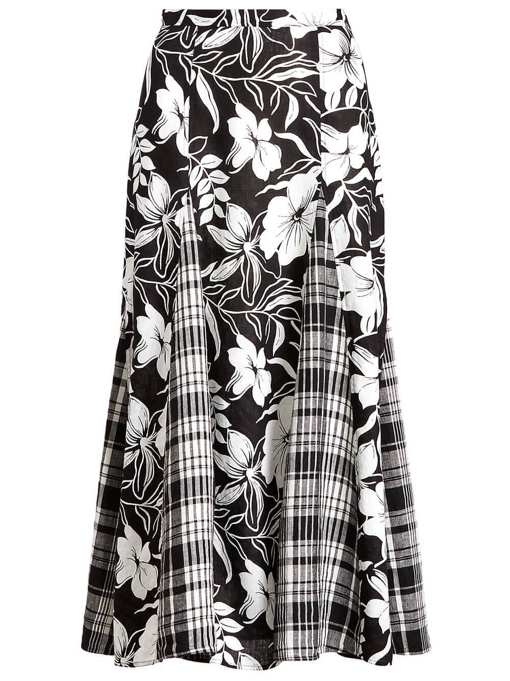 Linen Floral Maxi Skirt Item # 211838966001
