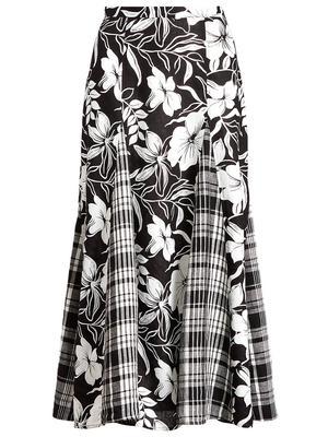Linen Floral Maxi Skirt