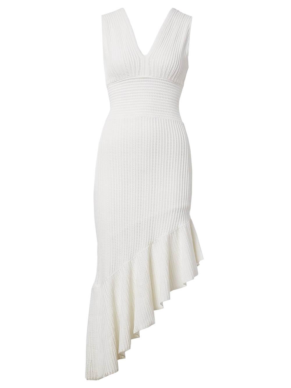 Asymmetrical Hem Knit Dress