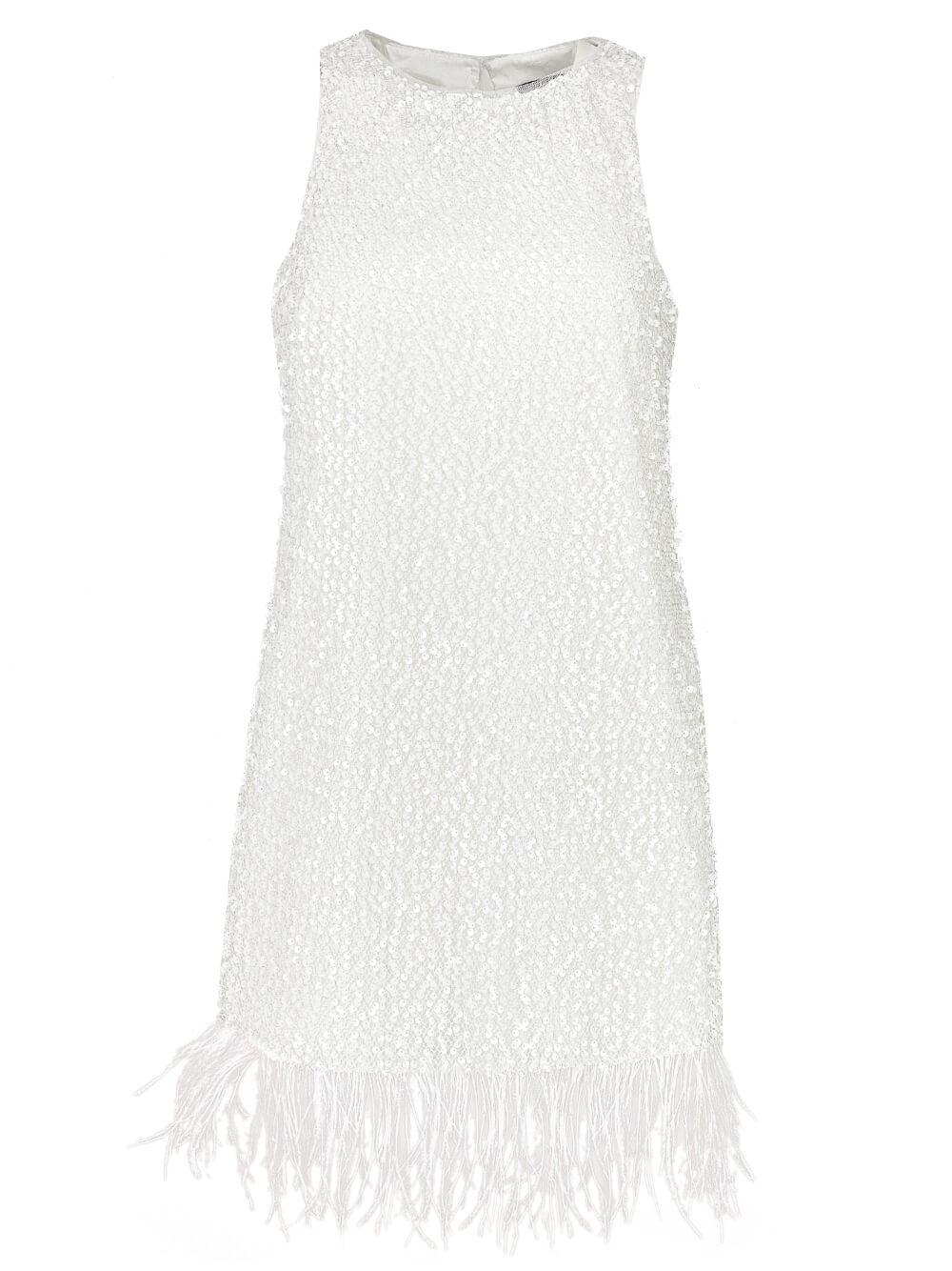 Sequin Mini Dress With Feather Trim