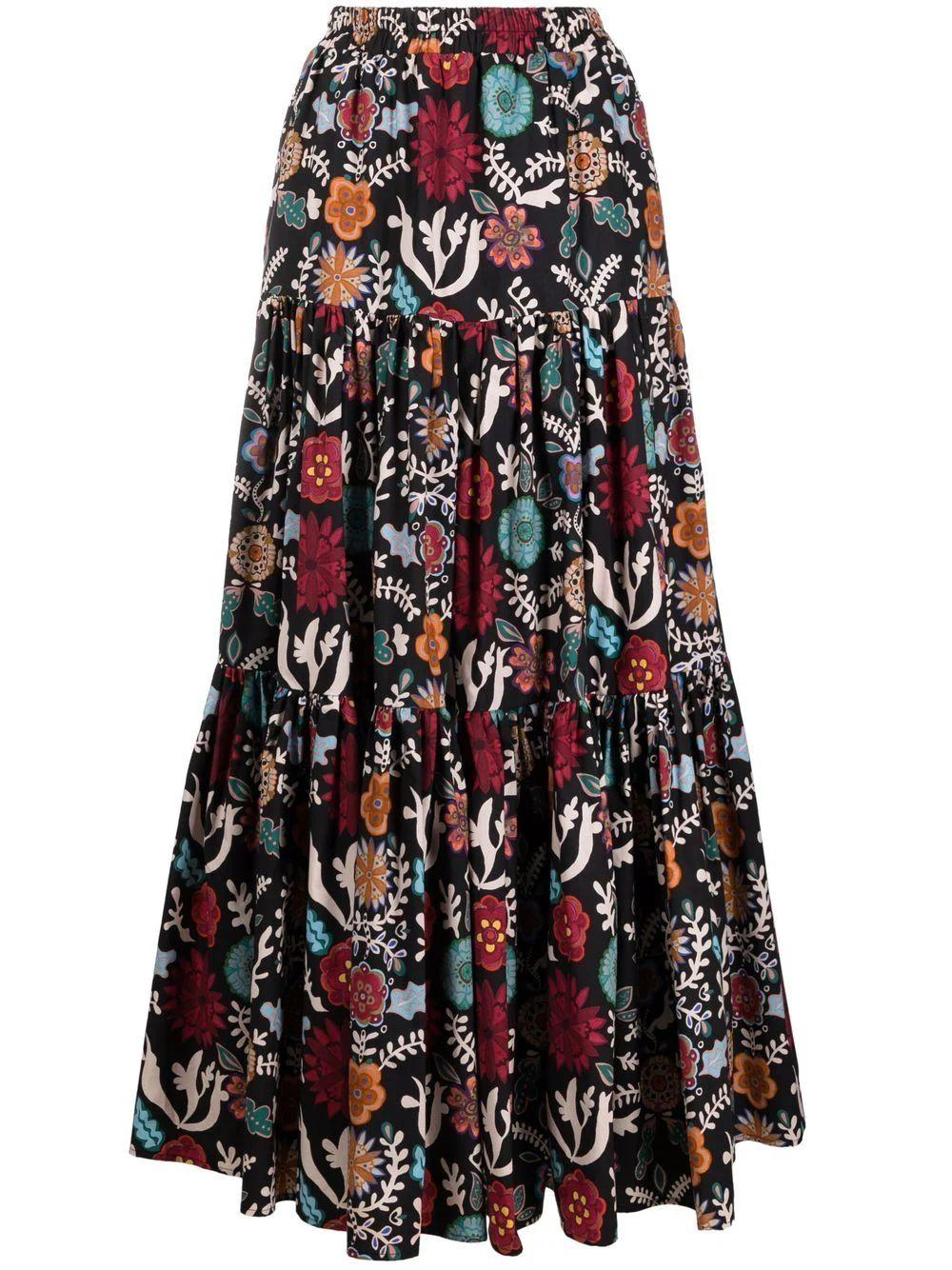 Fire Flower Big Maxi Skirt