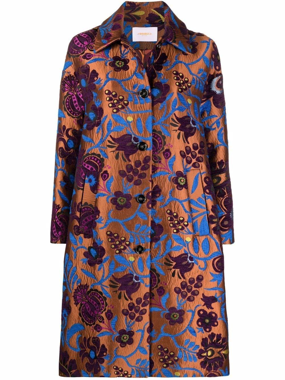 Boxy Floral Jacquard Coat Item # JAC0014-JAC025