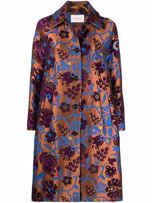 Boxy Floral Jacquard Coat