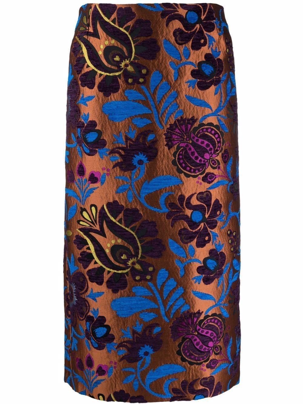 Floral Jacquard Pencil Skirt Item # SKI0011-JAC025