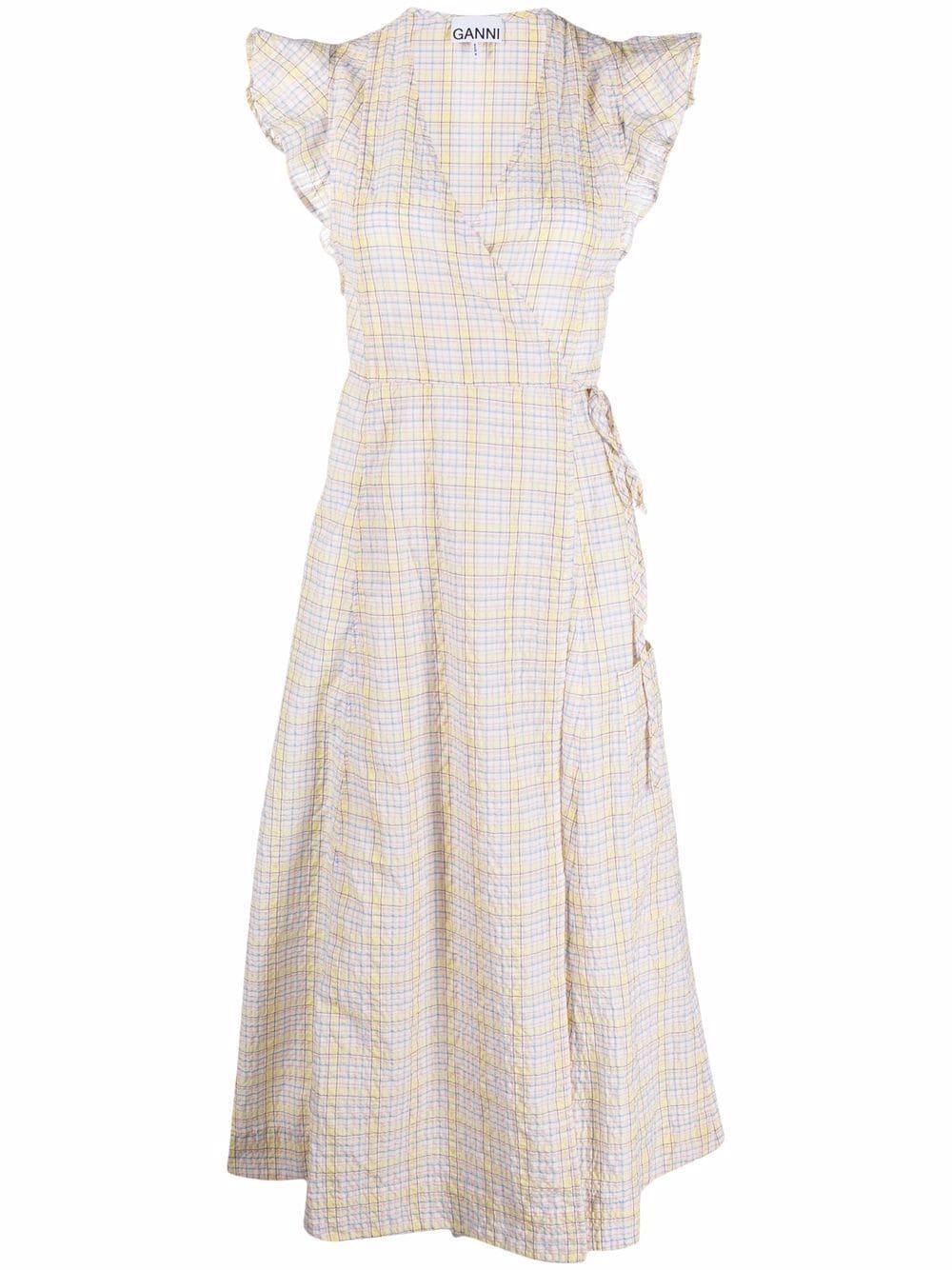 Seersucker Check Wrap Dress Item # F6067