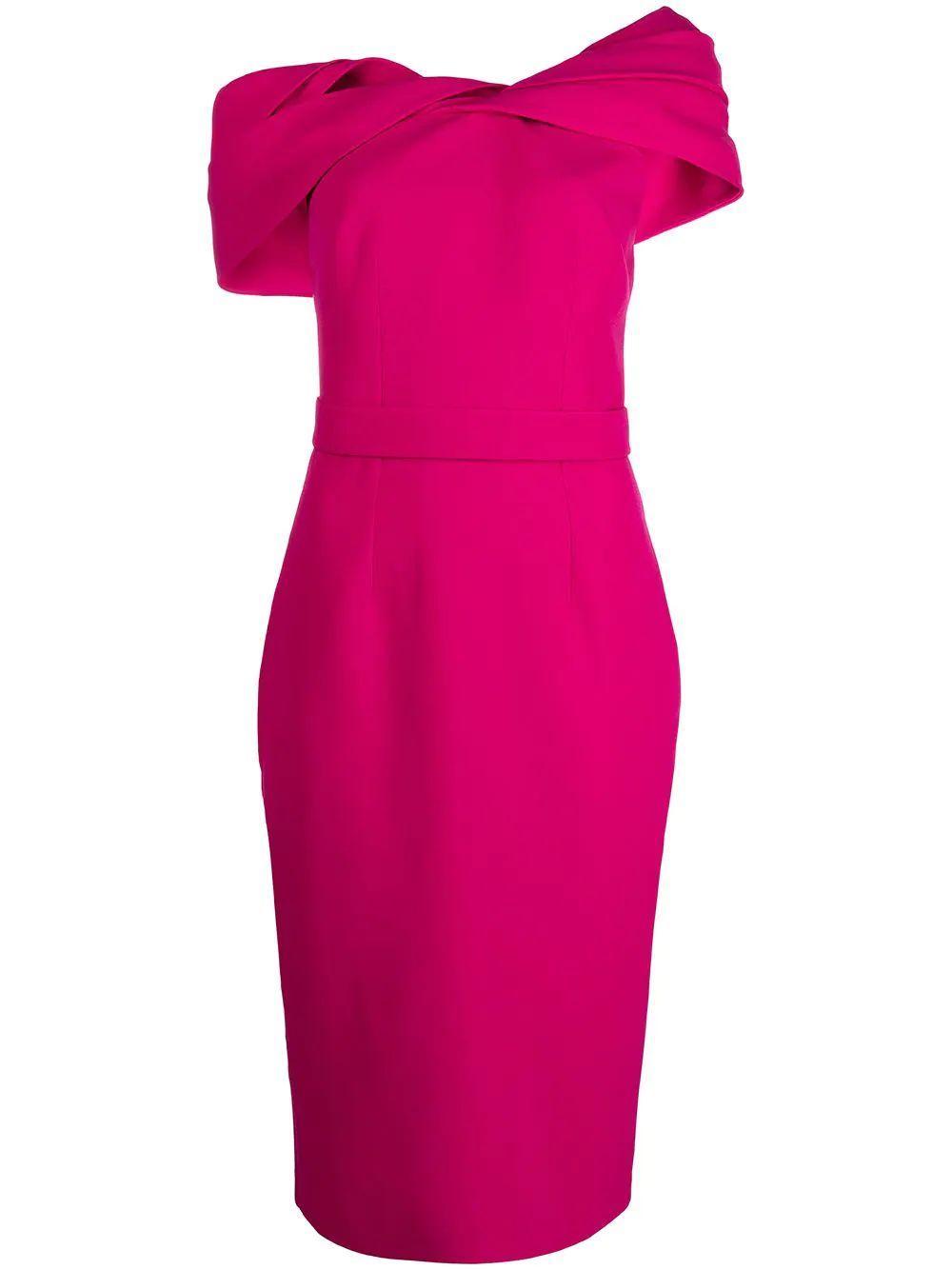 Draped Shoulder Dress Item # D341-1