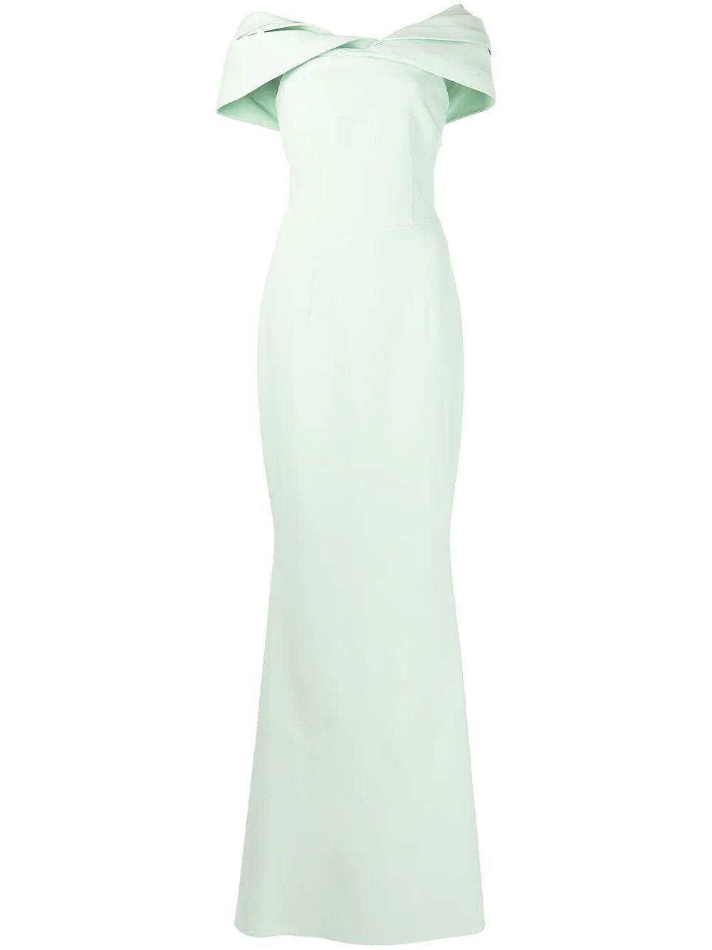 Draped Off Shoulder Gown Item # DL481-1