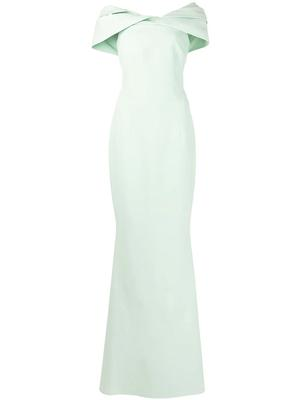Draped Off Shoulder Gown