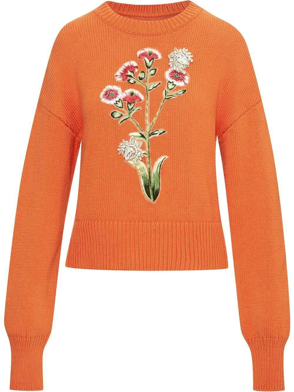 Floral Embroidered Sweater Item # 21PE167MSK