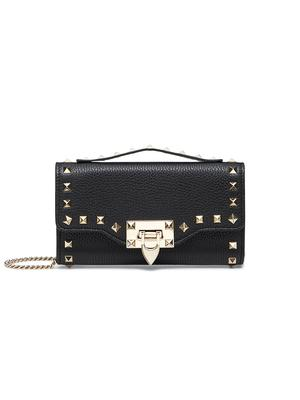 Rockstud Grainy Calfskin Wallet with Chain Strap