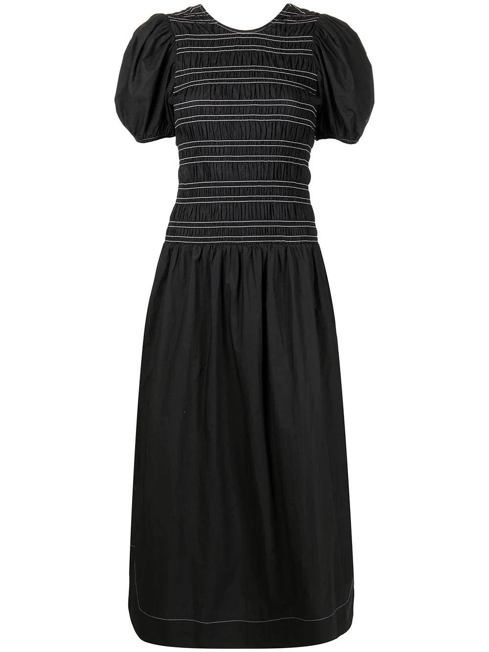 Puff Sleeve Midi Dress Item # F6037