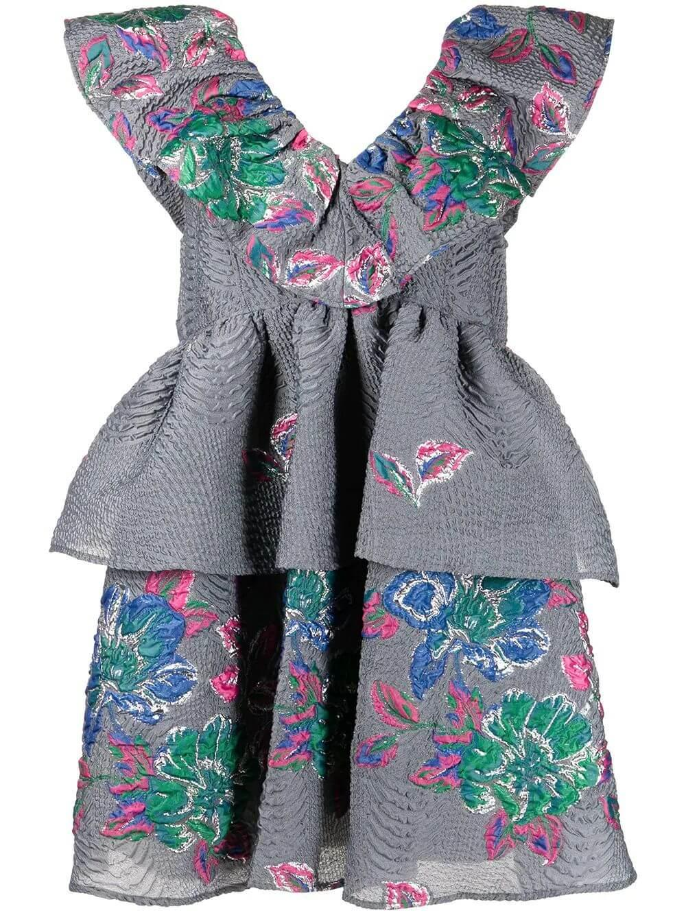 Crinkled Jacquard Dress