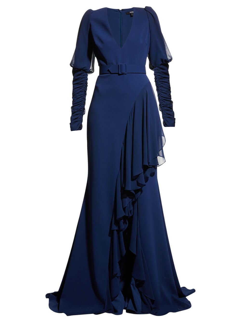 Ruffle Hem Belted Gown Item # EG3209