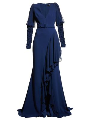 Ruffle Hem Belted Gown