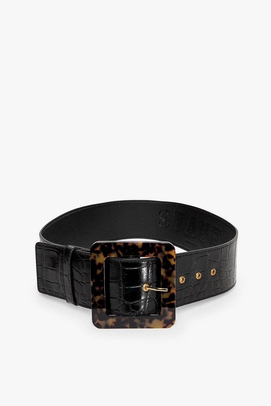 Wide Croc Embossed Belt