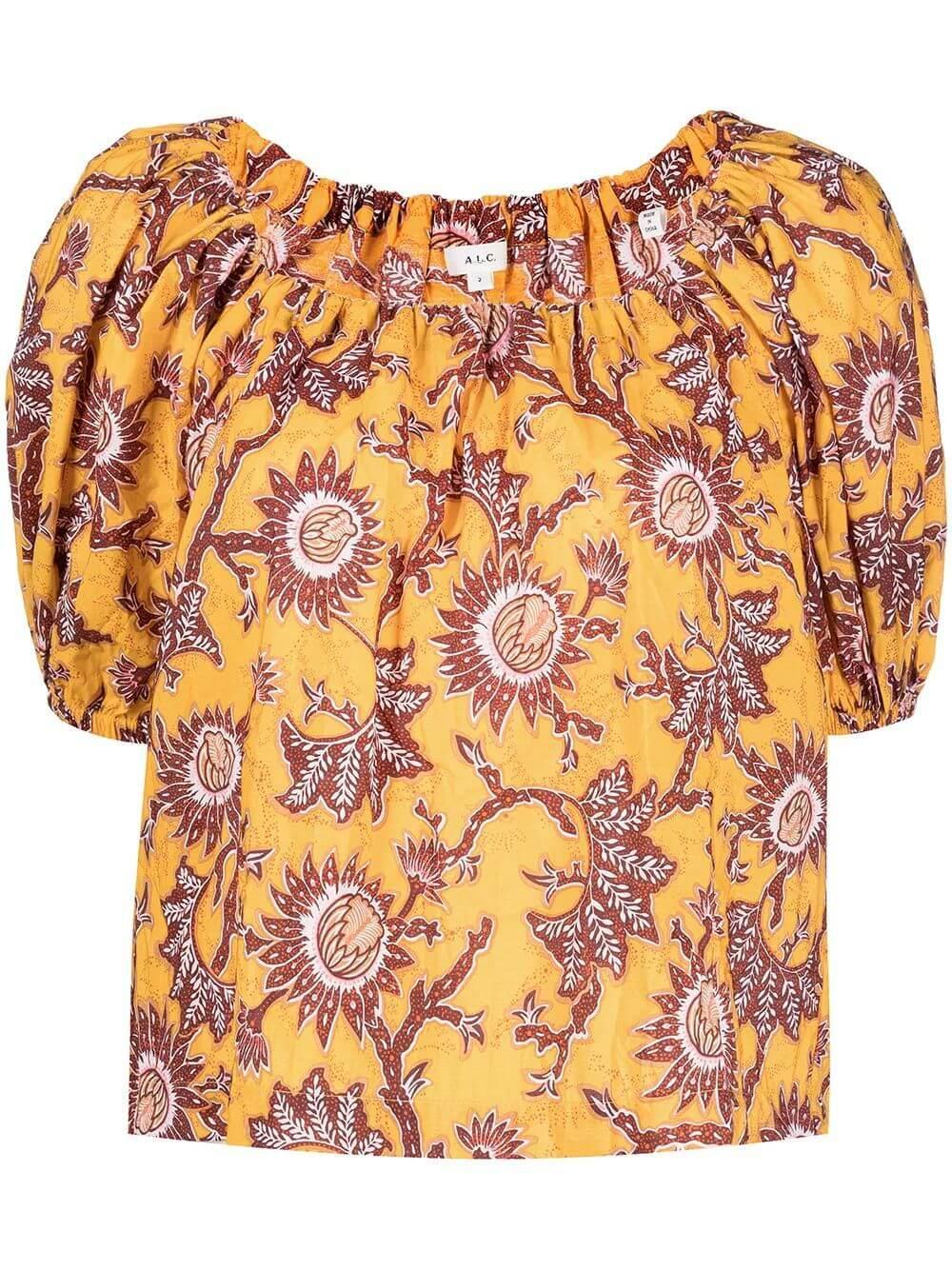 Mara Printed Puff Sleeve Top Item # 5TOPS01049