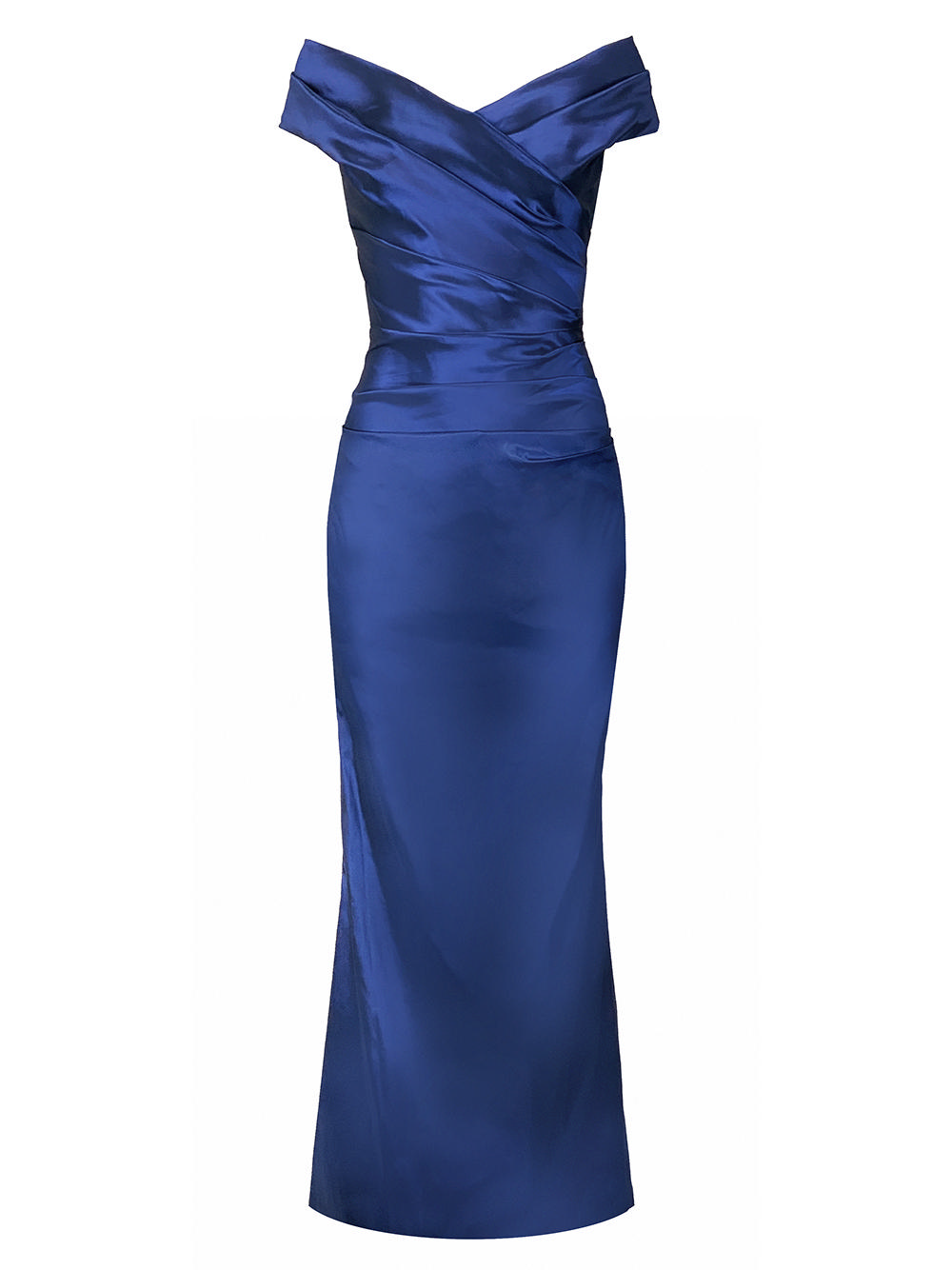 Off The Shoulder Ruched Gown Item # 49096-F20