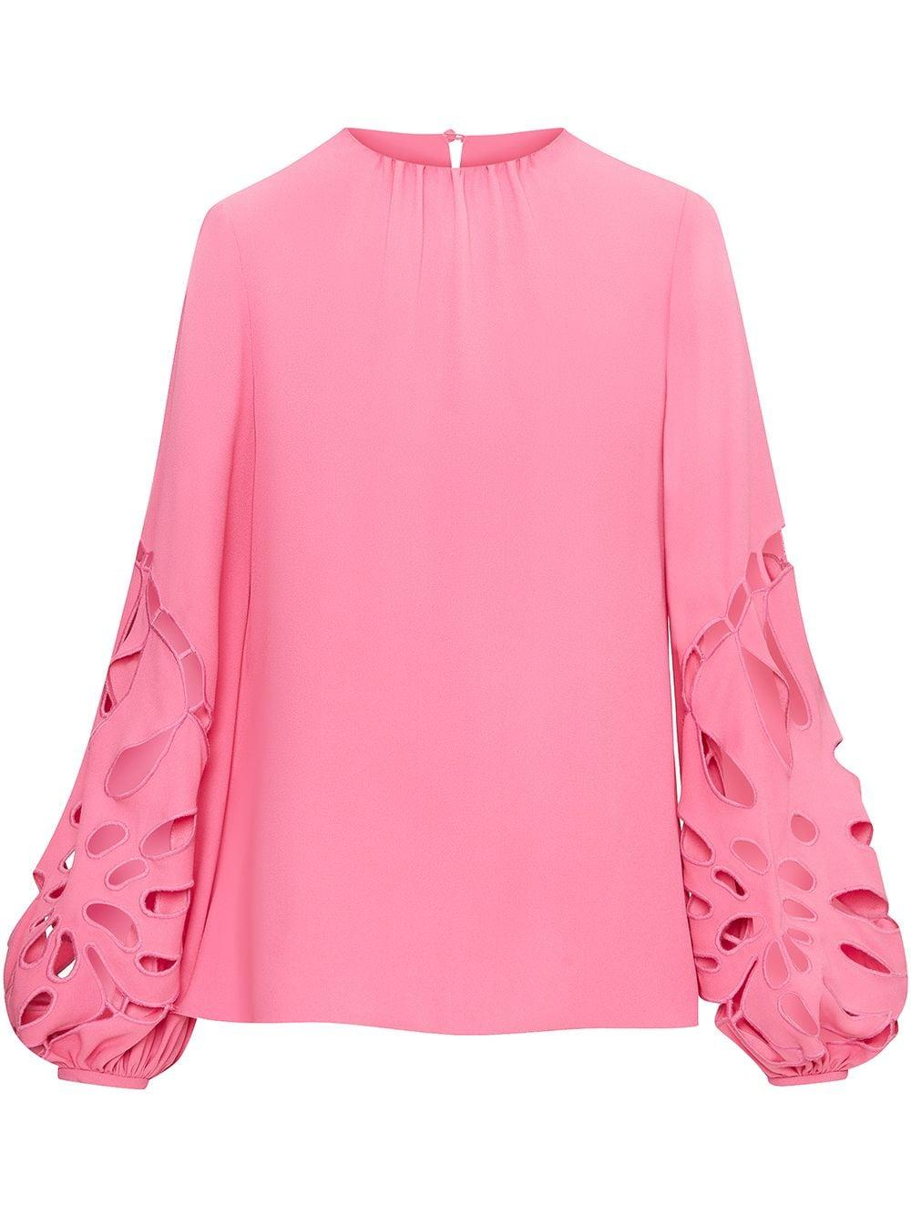 Cut-Out Embroidered Sleeve Blouse