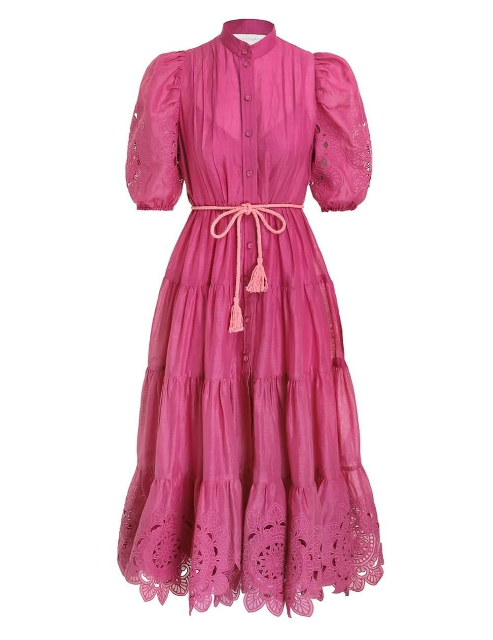 Teddy Scallop Frill Midi Dress Item # 1709DTED