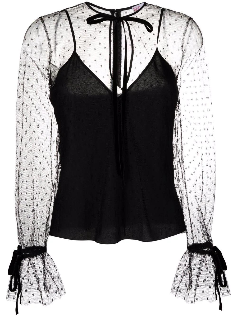 Sheer Blouse With Tie Details Item # WR3ABF801GK