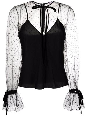 Sheer Blouse With Tie Details