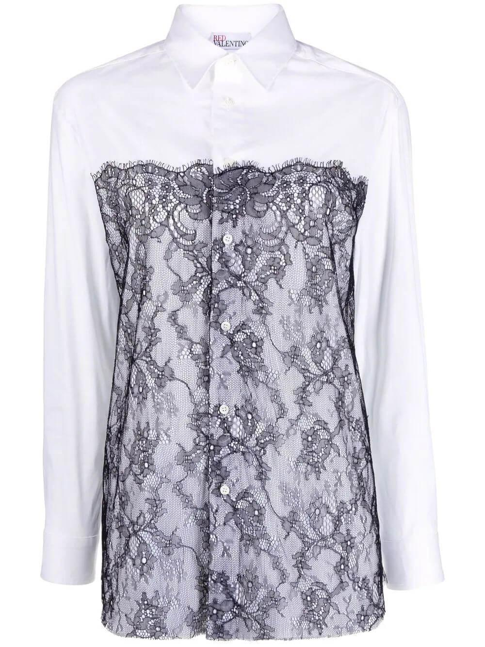 Lace Front Button Down Shirt Item # WR3ABF6060Q