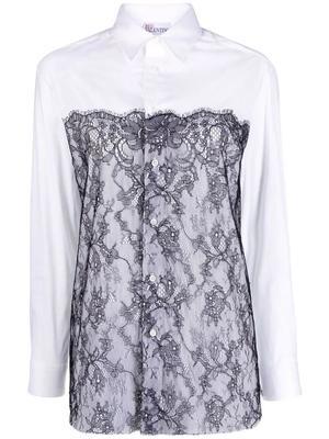Lace Front Button Down Shirt
