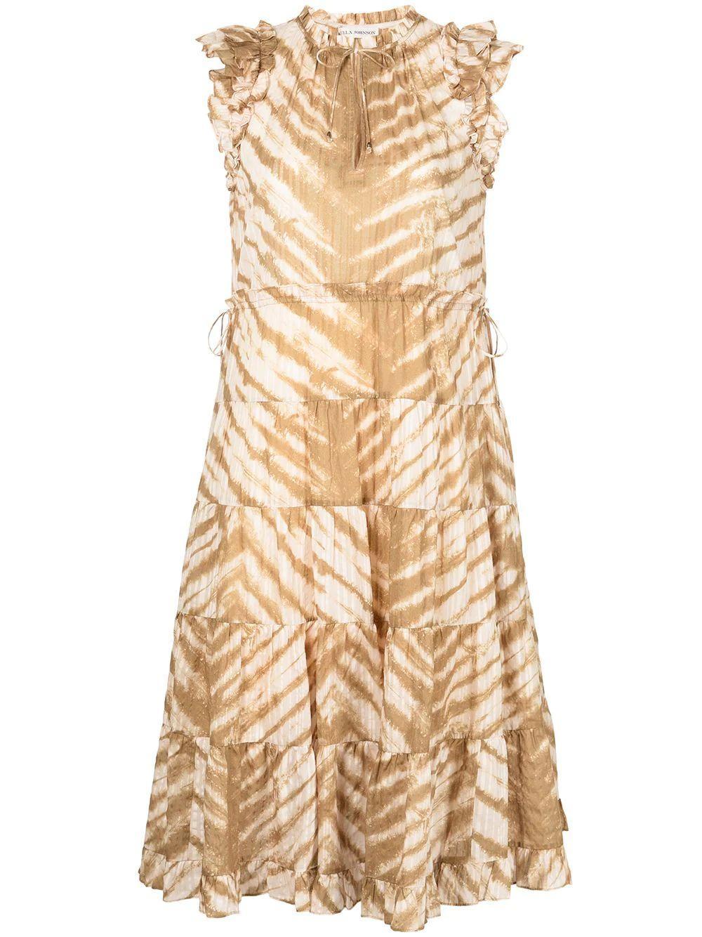 Pilar Tiger Tie Dye Midi Dress Item # PF210131