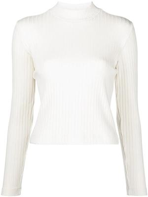 Ribbed Mock Neck Pullover Sweater