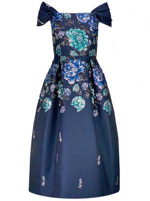 Floral Jacquard Off Shoulder Dress