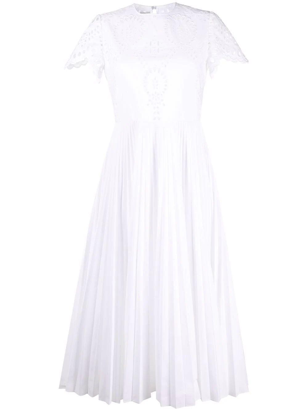 Pleated Eyelet Midi Dress Item # WB3VAWG06HB