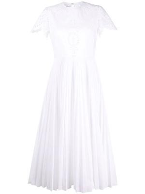 Pleated Eyelet Midi Dress