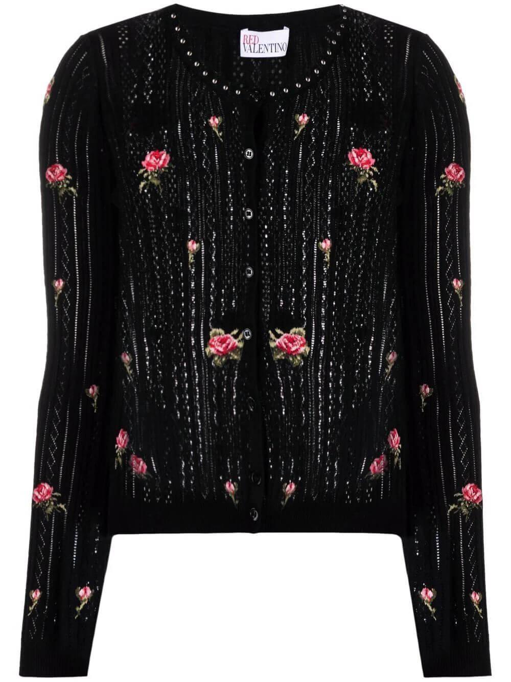 Floral Applique Cardigan Item # WR3KA02Q644