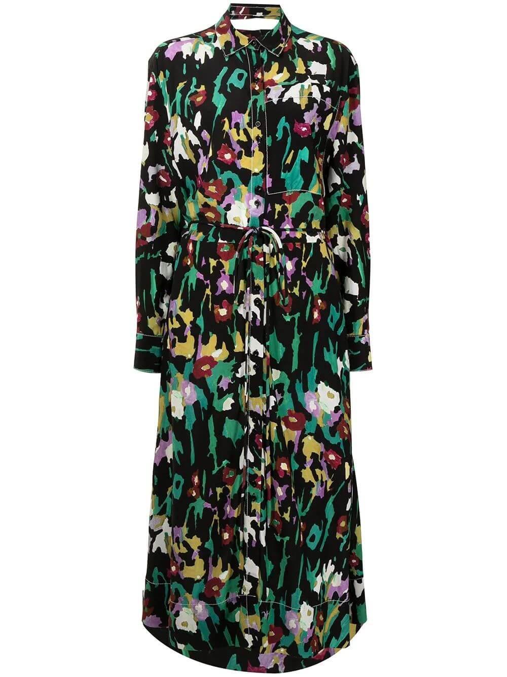 Painted Floral Shirt Dress Item # WL2133177