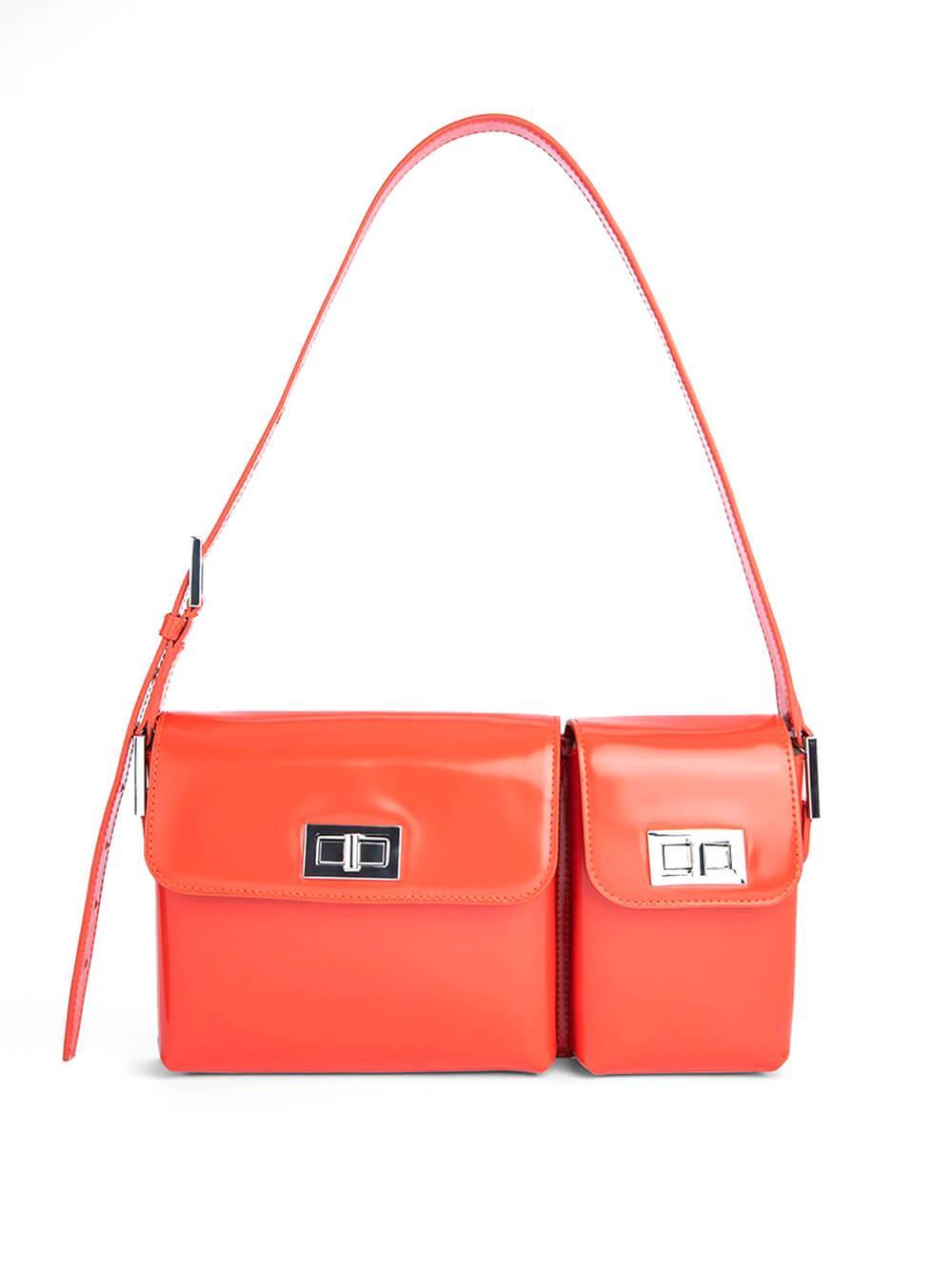 Billy Semi- Patent Shoulder Bag Item # 21PFBLY