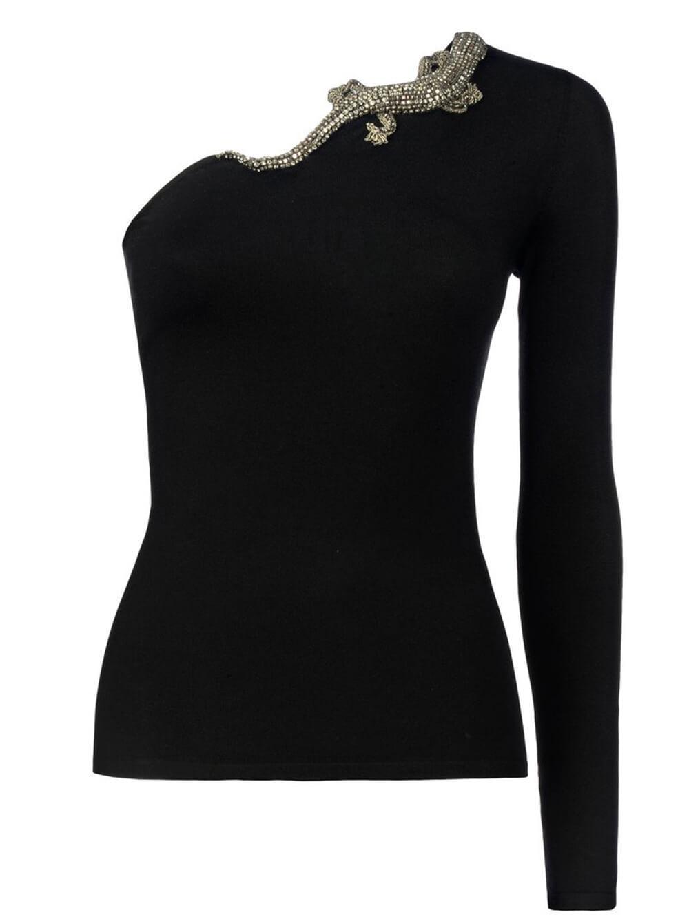One Shoulder Embellished Sweater Item # 290845686001